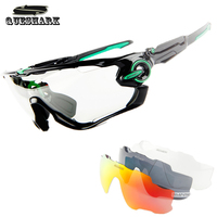Queshark 3 In 1 Sports Photochromic Polarized Glasses Cycling Eyewear Bicycle Glass MTB Bike Bicycle Riding