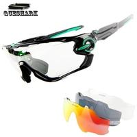 Queshark 3 In 1 Sports Photochromic Polarized Glasses Cycling Eyewear Bicycle Glass MTB Bike Bicycle Riding