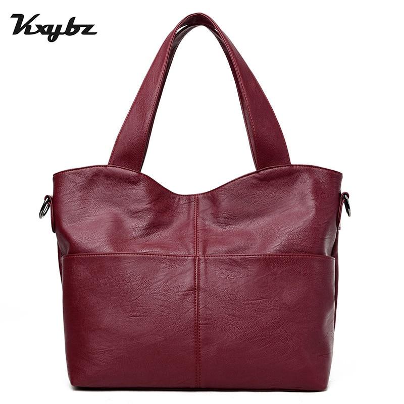 KXYBZ Fashion Band Leather Women Messenger Bag Designer High Quality Vintage Female Handbag Women Totebags Bolsas