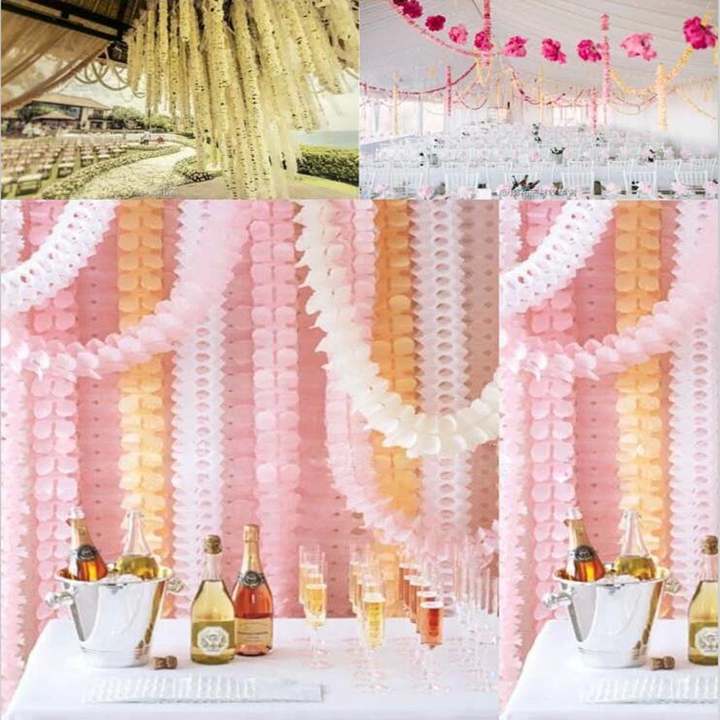 3.6m Garlands Clover Paper Garlands Birthday Curtain Marriage Party Home Decoration Bunting Paper Garland Wedding #20