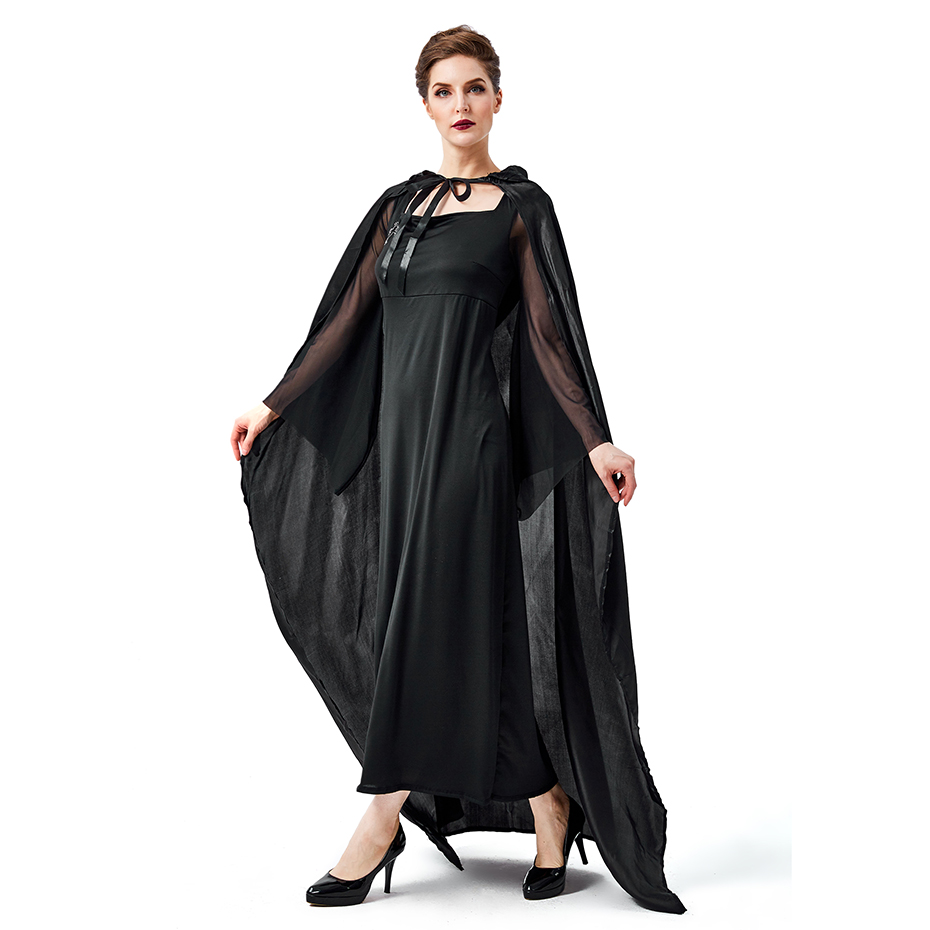 Halloween party adult costumes black horror witch cross suppression evil spirits mysterious robe mage stage performance Cosplay in Movie TV costumes from Novelty Special Use