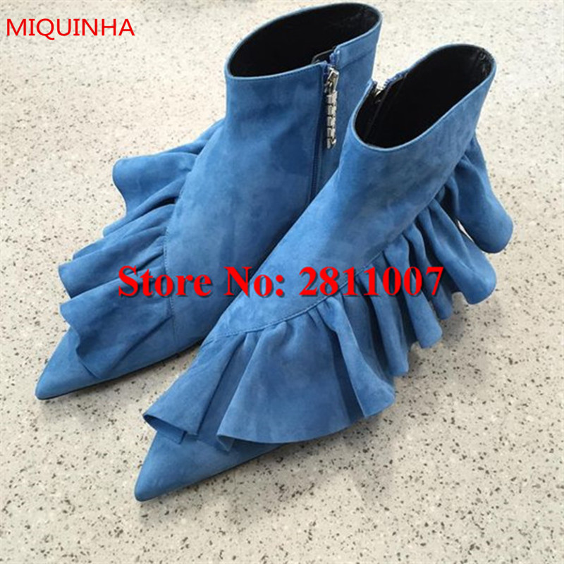 Sexy Blue Ruffle Leather Woman Ankle Boots Pointed Toe Spring Autumn Women Short Booties Ladies Shoes Zapatos Mujer Shoes Woman pointed toe lace up women ankle boots fashion ladies autumn winter flat heels cuasual boots shoes woman motorcycle short booties