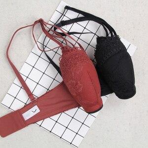 Image 5 - 和風レース少女プッシュアップシームレスブラジャーとパンティセット 1/2 カップディープ v 厚みのセクシーな女性下着スーツ