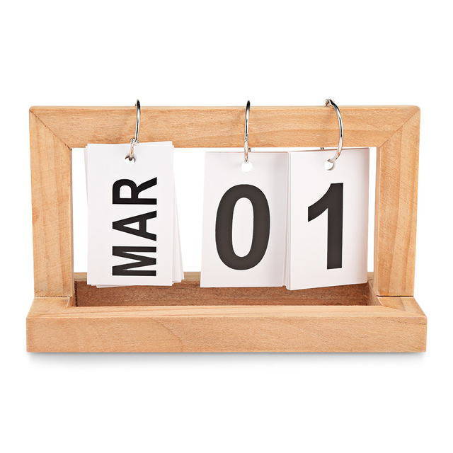 Portable Innovative Wooden Paging Desk Calendar For Home Office Art
