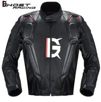 GHOST RACING Motorcycle Jacket PU Leather Racing Jacket Body Armor Protection Equipment Moto Motocross Off road Clothing