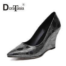 DoraTasia Size 32-40 Fashion Women High Heel Wedges Party Wedding Pumps Sexy Pointed Toe Less Platform Party Wedding Shoes
