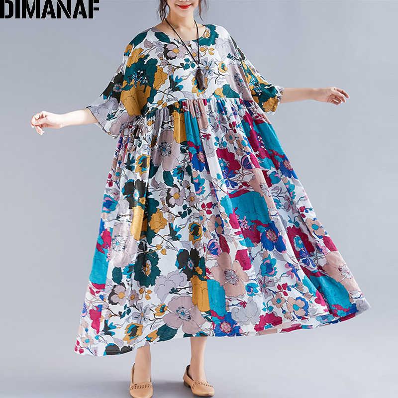 Detail Feedback Questions about DIMANAF Plus Size Women Beach Dress Summer  Sundress Linen Female Vestidos Elegant Lady Loose Print Floral Big Size 5XL  6XL ... 091c9be032b6