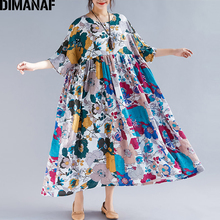 DIMANAF Plus Size Women Beach Dress Summer Sundress Linen Female Vestidos Elegant Lady Loose Print Floral Big 5XL 6XL 2019