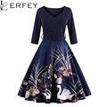 Lerfey mulheres sping outono dress com caixilhos 1950 s retro balanço do vintage vestidos de festa de impressão vestidos plus size vestuário feminino