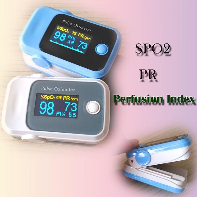 10 قطع oled نبض مقياس التأكسج spo2 pr بي الإرواء 3 المعلمات الدم تشبع الأكسجين رصد 2 ألوان أزرق/الرمادي