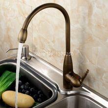 Поворотный носик водопроводной воды античная латунь одной ручкой на одно отверстие Кухня раковина и Ванная комната кран бассейна смесителя asf073