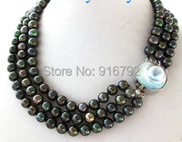 YH@CS >>>3 Strands Black Peacock Round Freshwater Pearl Necklace Mabe Blister Pearl Clasp