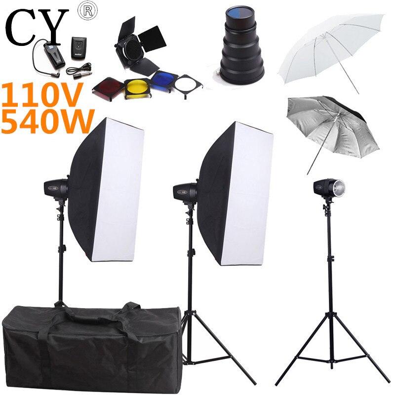 Godox K-180A 540ws 110v Photography Softbox Flash Lighting Kits Flash Monolight Lightbox Stand Set Photo Studio Accessories