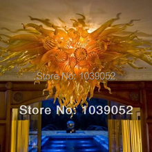 лучшая цена Free shipping medium size yellow hand blown art glass chandelier lighting (BGC20162)