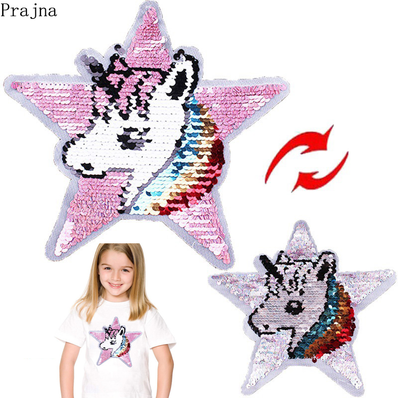 Prajna Embroidered Glitter Star Rainbow Unicorn Patch Reversible Horse Sequin Sew On Tshirt For Clothes Kids Fabric
