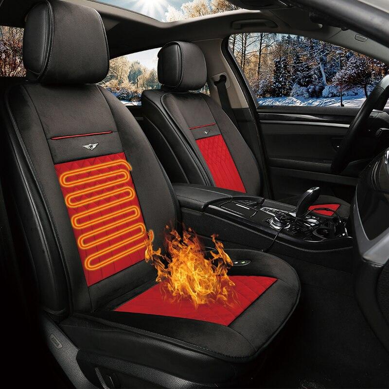 KKYSYELVA 1PCS Car Heated Seat Covers Auto 12V Heating Heater Cushion Warmer Pad Winter Seat Covers Universal Car Seat Covers
