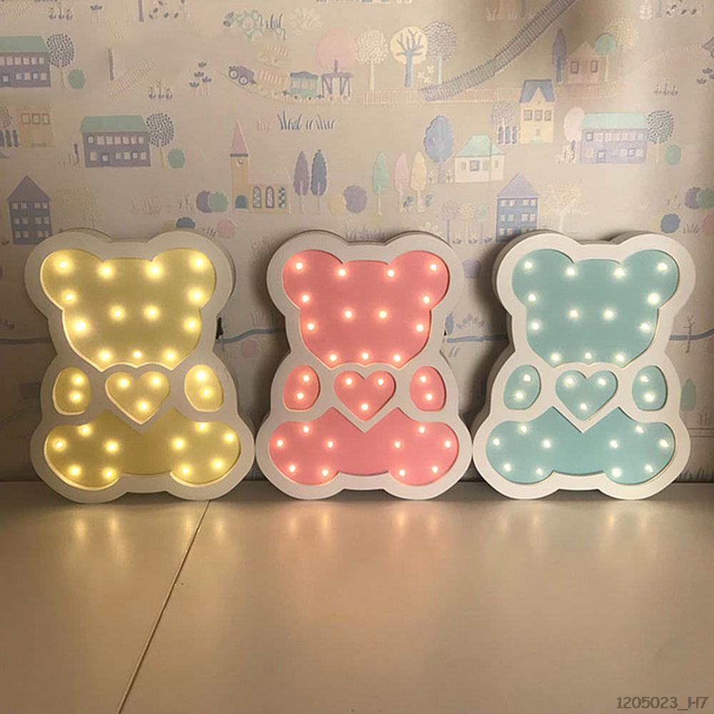 Wooden Bear-Pattern LED Night Light Cartoon Bedside Wall Lamp Decorative Lighting For Home Nursery Children Bedroom