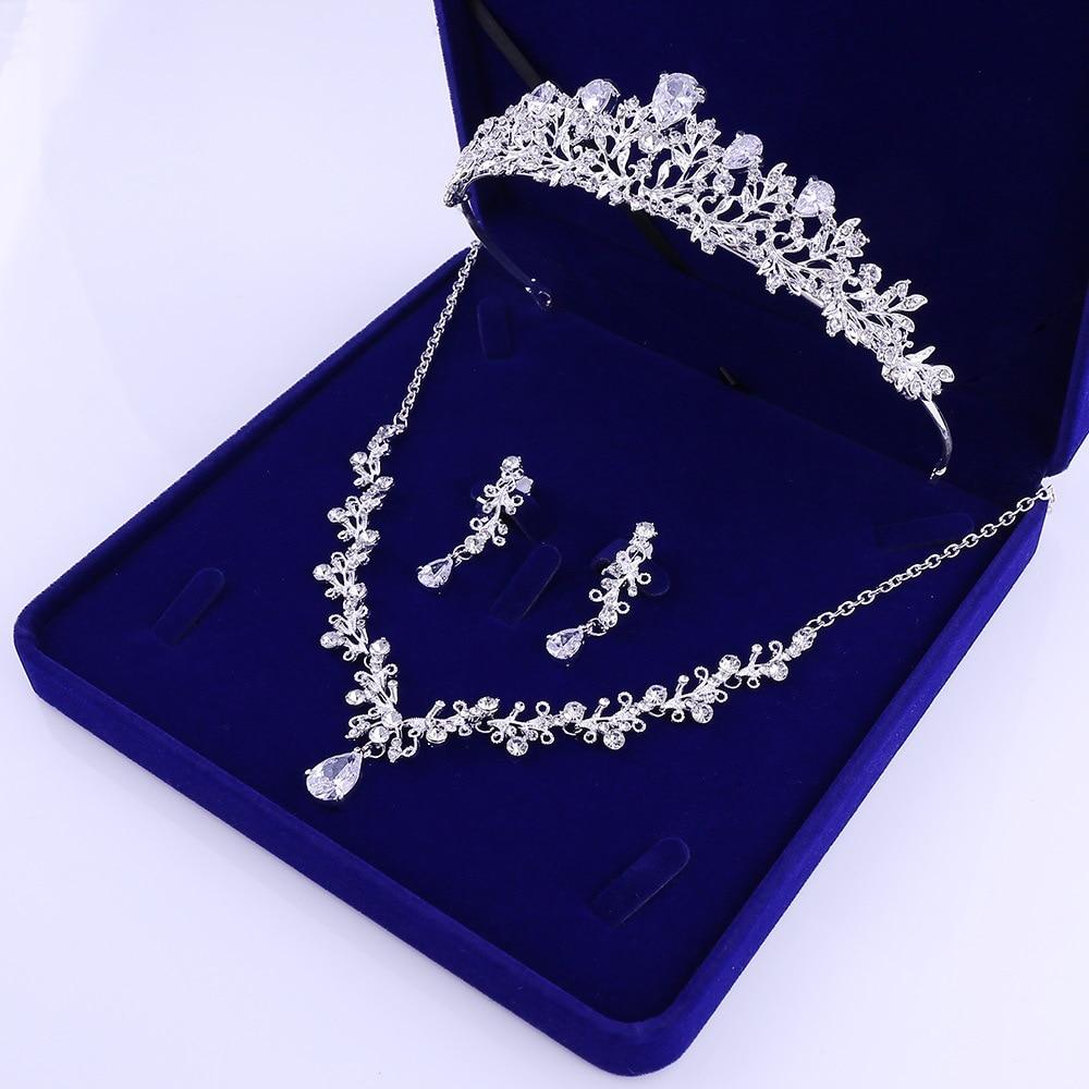 3 - Luxe Noble Feuille De Cristal, Bijoux De Mariée Strass Couronne Diadèmes Collier Boucles D'oreilles, Perles Africaines,