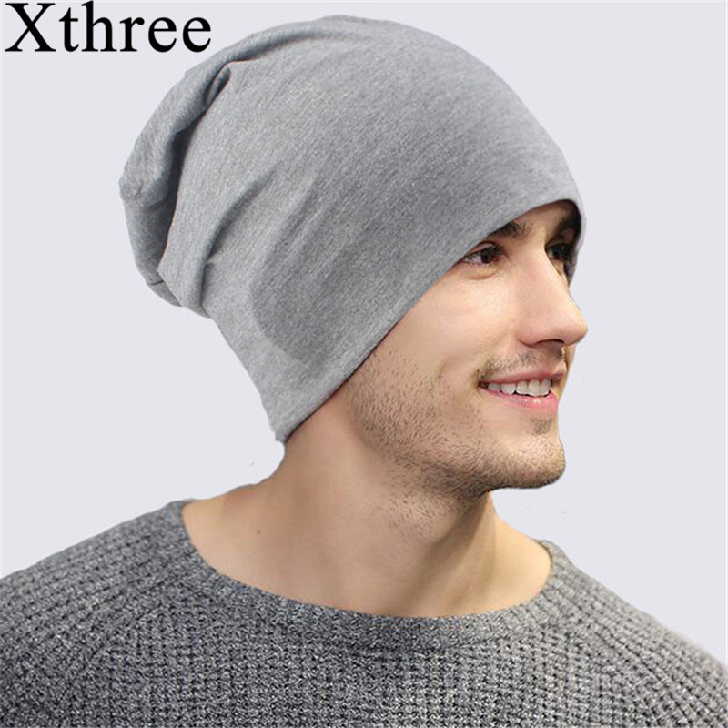 Xthree Men Skullies Hats Beanie-Hat Cotton Women Fall Female Thin Solid for Spring