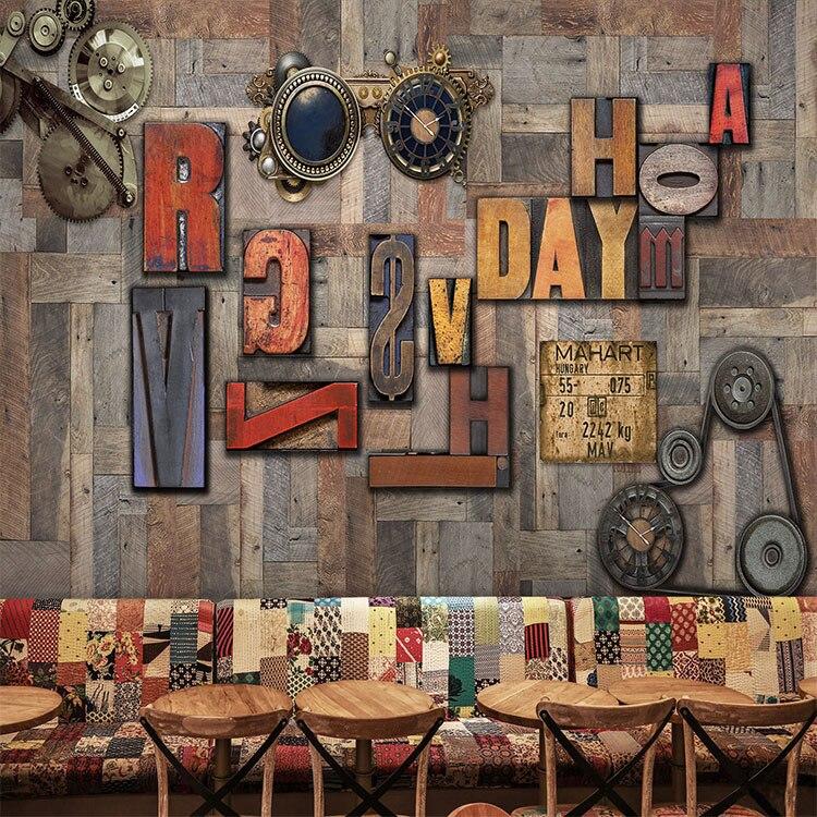 Englisch Alphabete 3D Fototapeten tapeten für Bar Kaffee 3d Holz panels Wand Murlas 8d Papel Wandbilder Wallpaper 3d wandmalereien