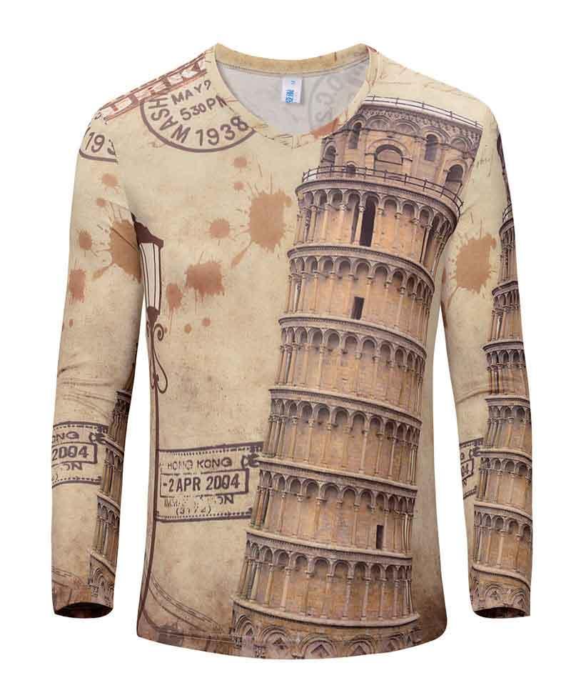 65aefa83 US $15.29 |Cool Design 3D T Shirt Men 2016 New Spring Autumn Fashion  Goddess Printed Mens Slim Long Sleeve V Neck Brand building T Shirts-in  T-Shirts ...