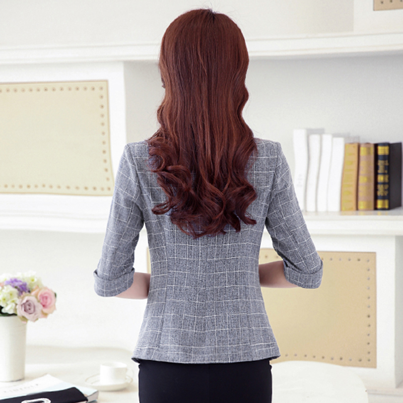 Women Suit 2019 Autumn New Casual Jacket Three Quarter Sleeved Suit Large Size Women Short Coats Spring Lattice Slim Suit FC81