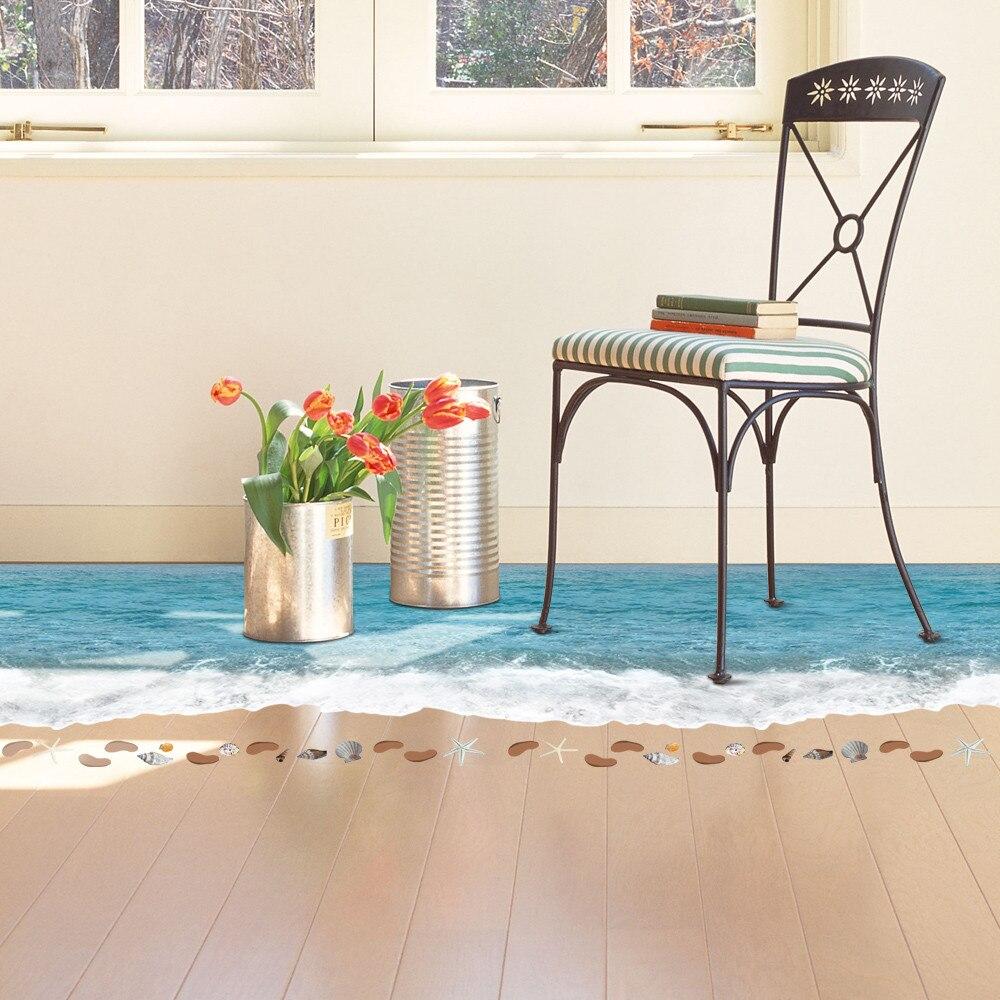 taotown neue kreative 3d boden aufkleber 90 58 cm 3d die wellen der meer strand stern dekoration. Black Bedroom Furniture Sets. Home Design Ideas