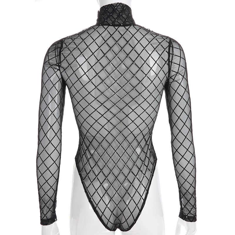 HOWMAYLEE черный клетчатый женский костюм с сеткой с длинными рукавами Ползунки-водолазка женский прозрачный боди костюм комбинезон сексуальный