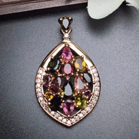 Fine Jewelry Real 925 Steling Silver s925 Love 100% Natural Tourmaline Gemstone Leaf Female Pendant Necklaces Christmas Gift