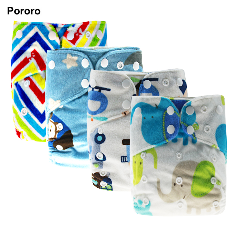 PORORO brand super soft baby cloth diaper nappy minky PUL printed all in one size AIO
