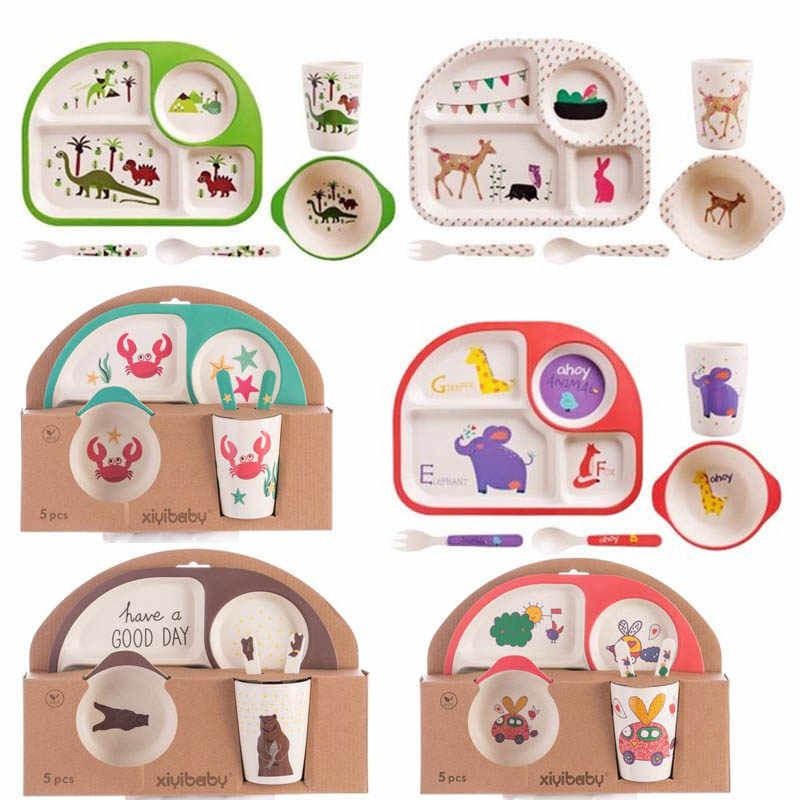 Crianças de Fibra De bambu Tigela Dinnerware Set Criativa Dos Desenhos Animados Partição Placa Tigela Colher Copo Garfo Presente Talheres Alimentação pçs/set 5