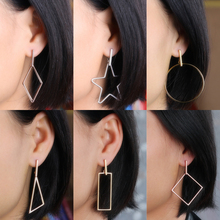 Innopes Korean fashion geometric polygon earrings stainless steel asymmetric exaggerated big jewelry