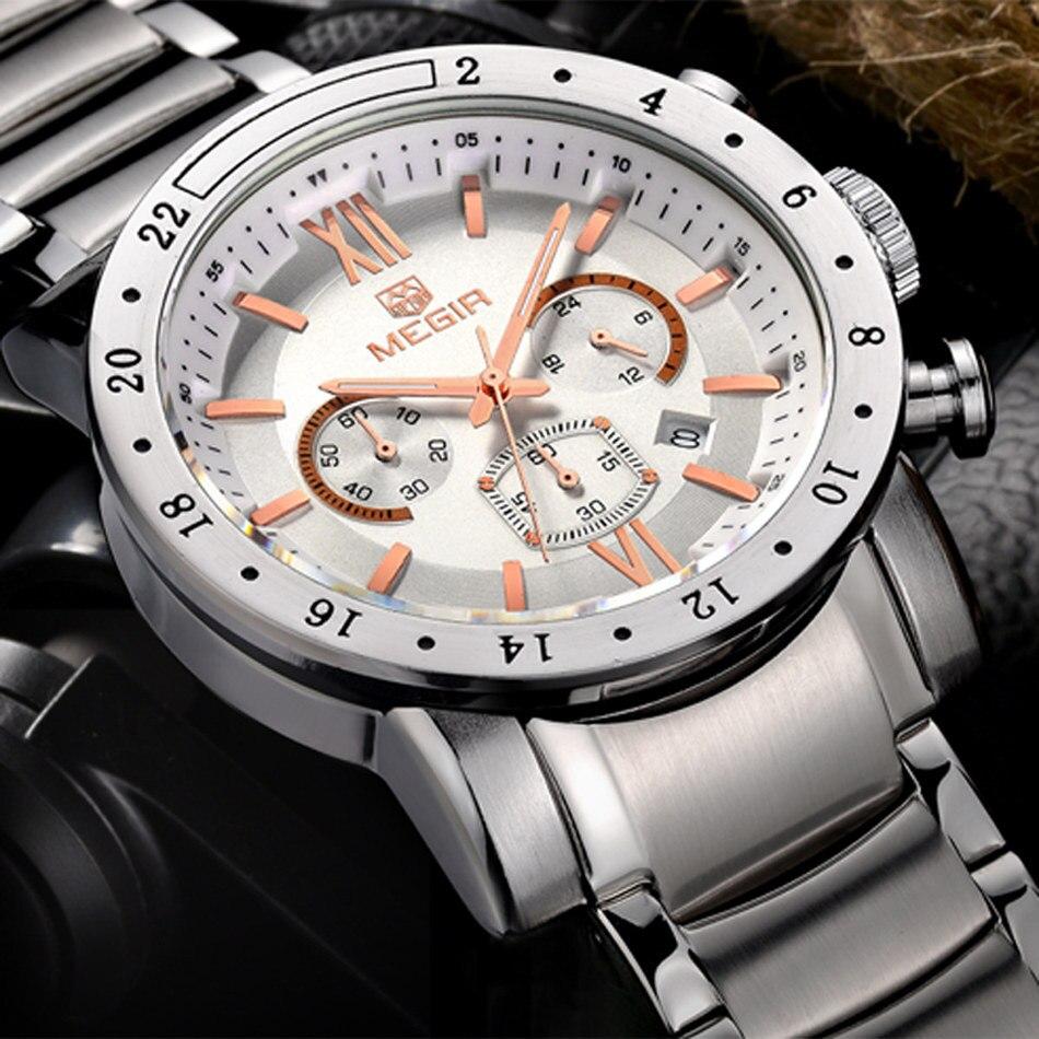 MEGIR Men Chronograph Watch Men's waterproof Stainless Steel Clock Date Quartz Watches Sport Watch Large Watch seiko watch premier series sapphire chronograph quartz men s watch snde23p1