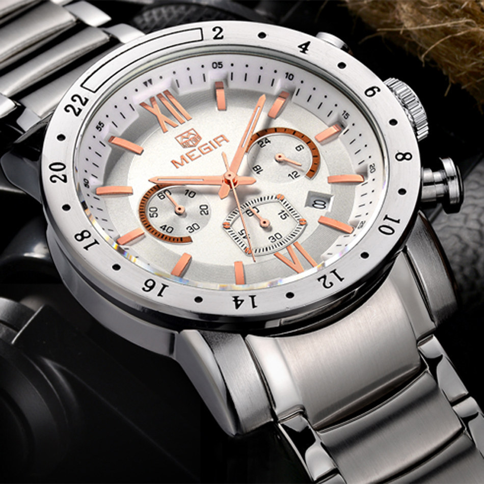MEGIR Men Chronograph Watches Luxury Brand Men's Waterproof Stainless Steel Clock Date Quartz Watches Sport Watch Large Watch цена 2017