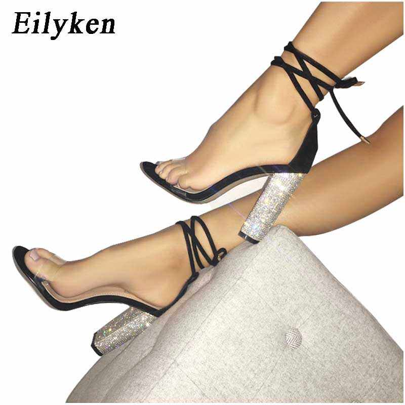 Eilyken Champagne Women Sandals Bandage Ankle Strap Crystal Pumps Super High  Heels 10 CM Square Heels 226878ee0d6c