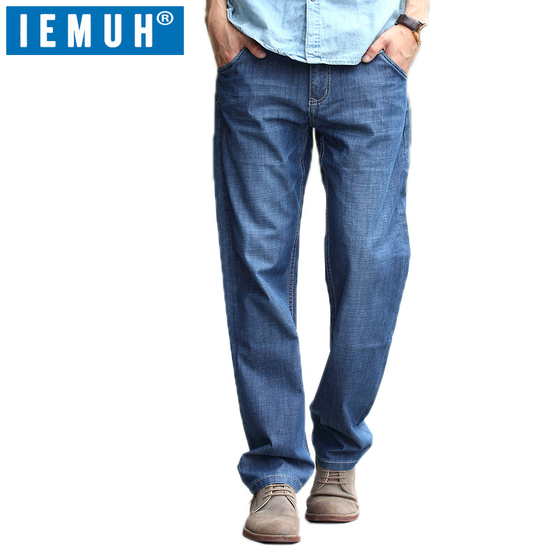 IEMUH Plus Size   Jeans   Man Denim   Jeans   Casual Middle Waist Loose Long Pants Male Solid Straight   Jeans   For Men Classical 28-48