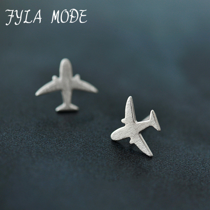 373e9a39d Fyla Mode Real 925 Sterling Silver Aircraft Airplane Plane Stud Earrings  Women's Handmade Pure Silver Jewelry 2017 New CYG002 | Nia Life Inc