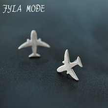 Fyla Mode Real 925 Sterling Silver Aircraft Airplane Plane Stud Earrings Women's Handmade Pure Silver Jewelry 2017 New CYG002