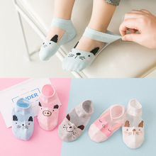 YOOAP 5PCS children socks summer new ultra-thin breathable crystal silk all cotton stitched ship baby shallow