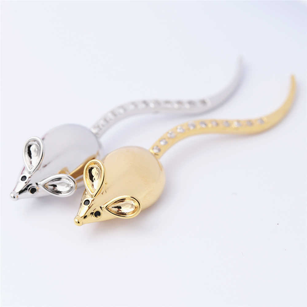 New Hot Fun long Tail Little Mouse Brooches Pin Up Jewelry Women Suit Hats Clips Corsages Brand Bijoux Brooch Bijouterie Golden