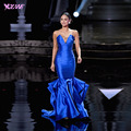 2017 Moda Largo Celebrity Dresses Mermaid Dress Red Carpet Royal Blue Stain Lentejuelas Cremallera Volver Beauty Pageant Con Cuentas Vestido