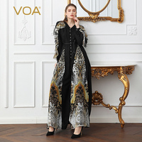 VOA Silk Georgette Embroidery Pearl Beading Jumpsuits Women Plus Size 5XL High Waist Loose Belt Jumpsuit Black Print Long K122