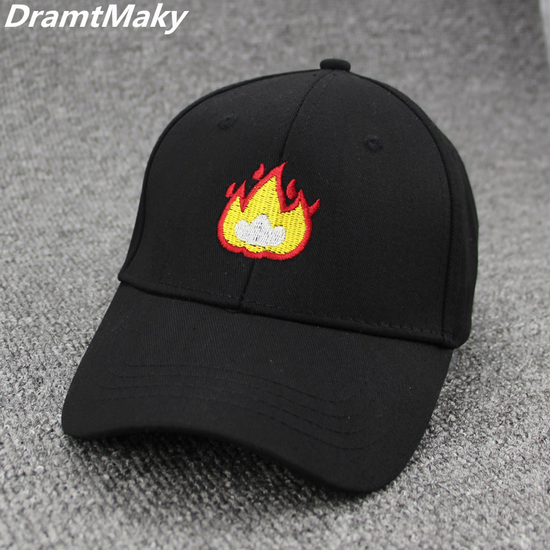 2018 Fashion Baseball Cap with FIRE Flame Embroidery Men Hat Summer Fall Brand Cotton Black Caps Women Men hat trucker Dad Hats brand winter hat knitted hats men women scarf caps mask gorras bonnet warm winter beanies for men skullies beanies hat