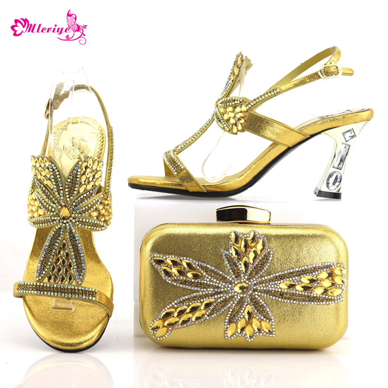 0548 Golden Color Italian Ladies Shoes and Bags To Match Set Nigerian Shoes and Matching Bag African Wedding Shoes and Bag Set italian gold color italian ladies shoes and bags to match set nigerian shoes and matching bag african wedding shoes and bag set