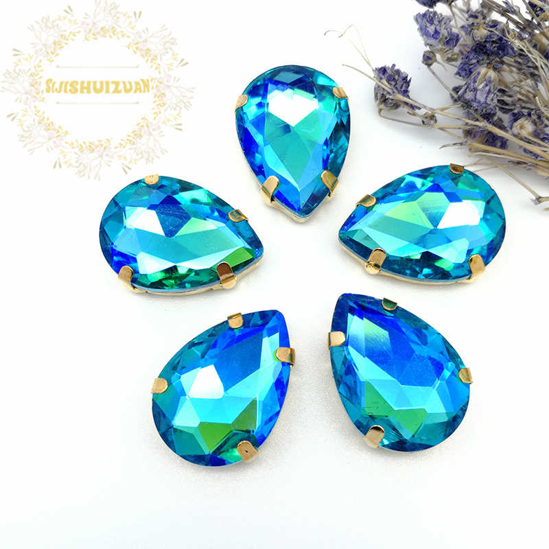 Turquoise blue AB Dazzle color Water drop Glass Crystal sew on rhinestones with GOLD four claw Diy weddingdress Free shipping
