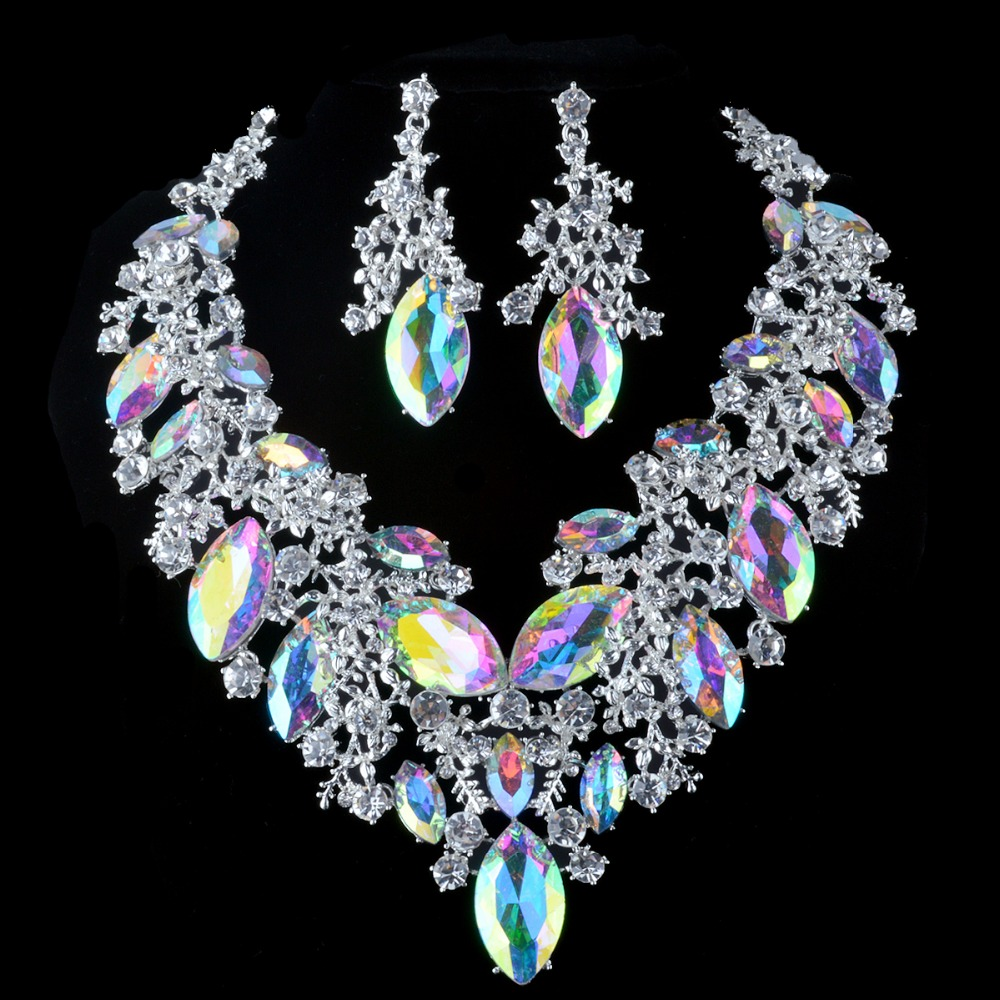 luxurious crystal AB jewelry sets bride wedding necklace earrings women bridal party silver plated jewelry accessories