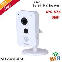 Dahua IPC K86 8MP ip камера беспроводная Wifi камера H.265 Встроенный микрофон динамик sony сенсор 2,8 мм объектив Поддержка PIR и sd карты