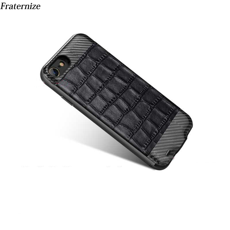 Slim Battery Charger Case For iPhone 6 6S Genuine Leather +Carbon fiber+Aluminum Frame External Power Bank Charging Cover Cases