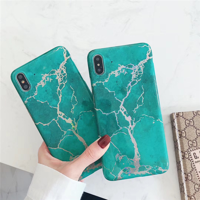 Bling glitter crack marble case for iphone X XR XS Max Glossy Soft TPU Case for iphone 6 6s 7 8 Plus case back cover in Fitted Cases from Cellphones Telecommunications