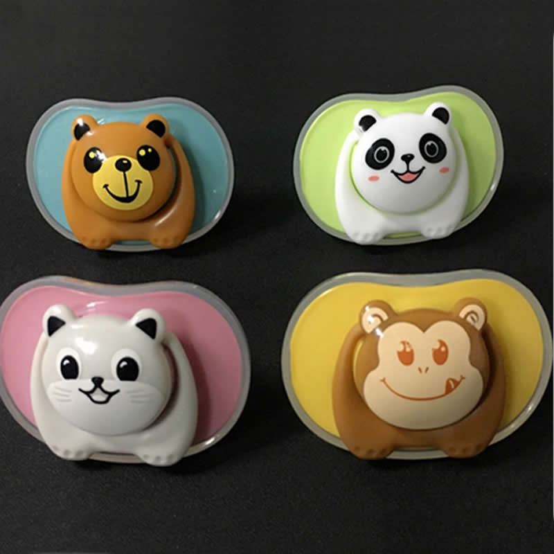 Nový Baby Pacifier Bear Pacifier Panda Chupeta Silikonový Baby Teat Monkey Tvar Attache Sucette Flat Head emzik kulatá hlava